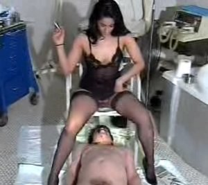 Black haired girl and her scat slave