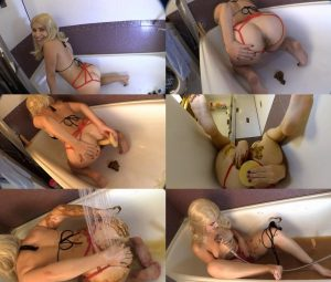 Princess Mia Scat smearing, fisting and posing for you in bathroom